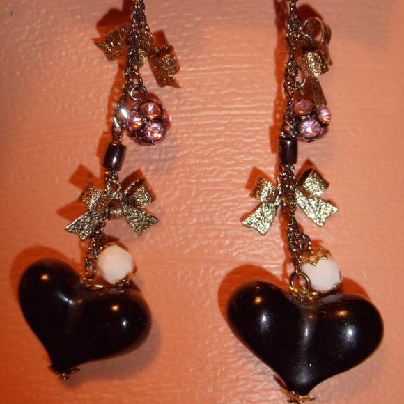 Betsey Johnson Jewelry | Long Dangle Heart Earrings ...
